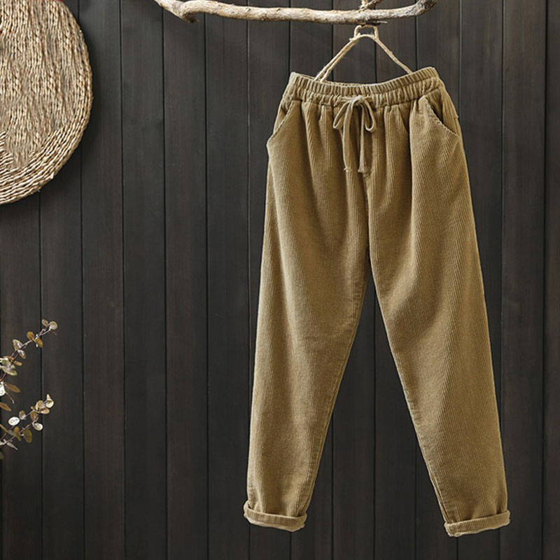 Plus Size Women's Corduroy Pants 2020 ZANZEA Trouser Harem Pants Drawstring Long Pantalon Female Palazzo Casual Turnip Woman