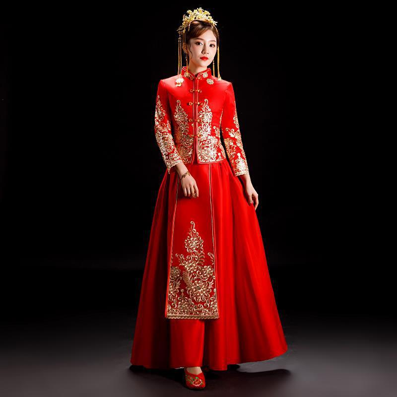 Bridesmaid Vestidos De Madrinas De Bodas Xiuhe Served 2020 New Chinese Style Wedding Dress Couples Bigger Sizes Wo Show Kimono