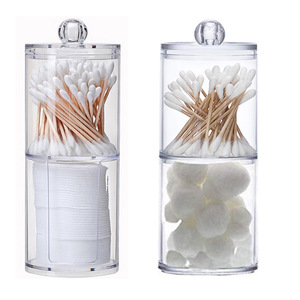 Multifunctional Acrylic round receive box jewelry box new cosmetic make cotton swabs transparent container makeup organizer box