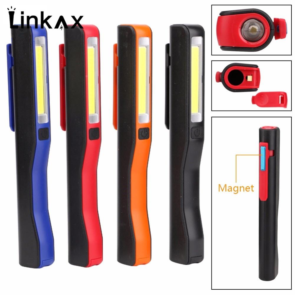 Hot Selling Mini Pen COB LED Flashlight Multifunction led Torch light Magnetic Working Inspection Lamp Pocket Light 2 Mode AAA