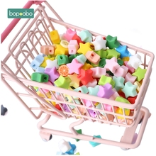 Bopoobo 20pcs Silicone Star Beads Food Grade Teether Mini Heart Bracelet DIY Jewelry Baby 12mm Round
