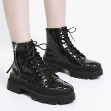 Fashion Short Boots Real Leather Martin Boots Woman Round Toe Spikes Heel Ankle Boots Women Shoes Fashion Mujer цена в Москве и Питере