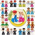 Горячая Распродажа фигурки-конструкторы, совместимые с полыми фигурами, город, семья, большие строительные блоки, обучающие игрушки для реб...