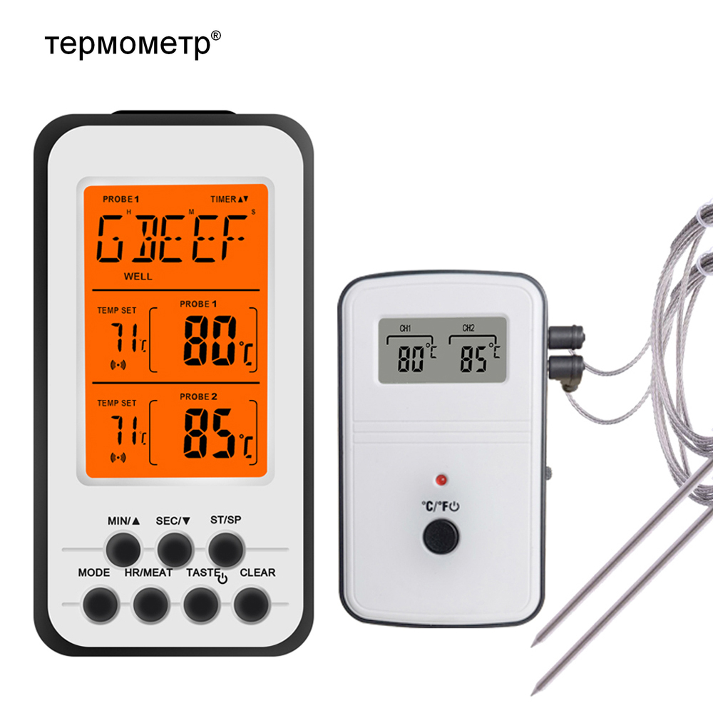 Digital BBQ Thermometer Wireless Kitchen Oven Food Cooking Grill Smoker Meat Thermometer with Probe and Timer Temperature Alarm