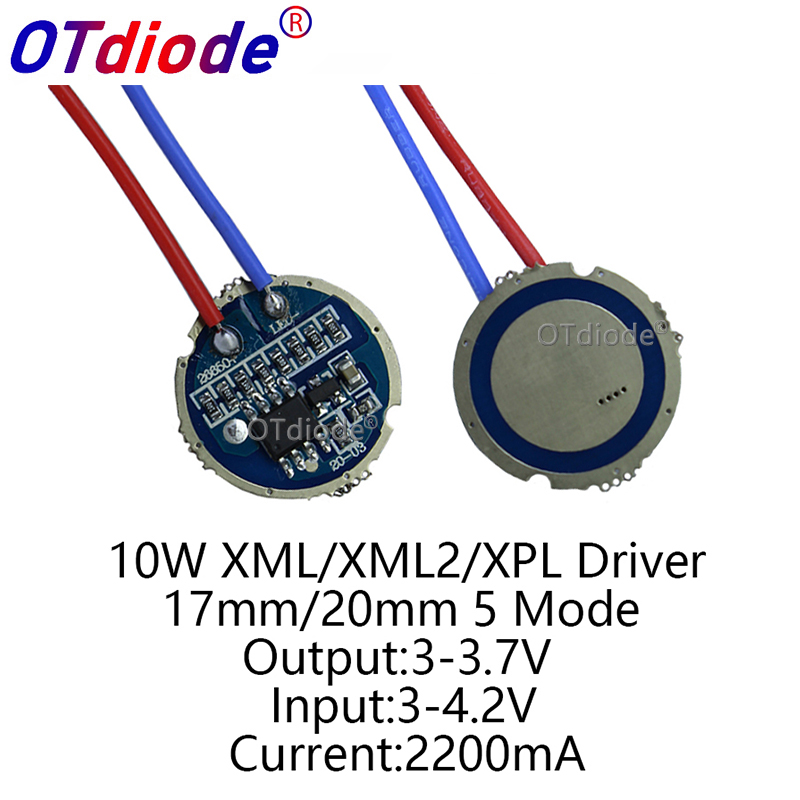50PCS cree xml <font><b>led</b></font> XPL xml2 <font><b>led</b></font> T6 U2 <font><b>driver</b></font> 17mm <font><b>20mm</b></font> 3-4.2V 2.2A 5-Mode <font><b>LED</b></font> <font><b>Driver</b></font> for CREE XM-L <font><b>LED</b></font> Emitter image