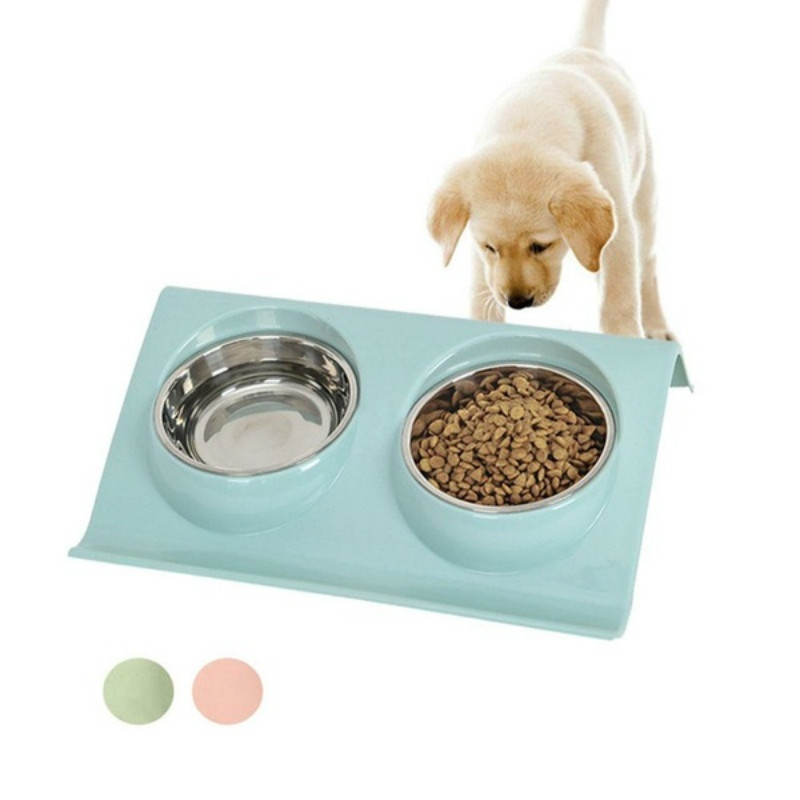Stainless Steel Double Pet Bowl Feeding Station Water Food Bowls Feeder Solution For Dogs Cats Supplies