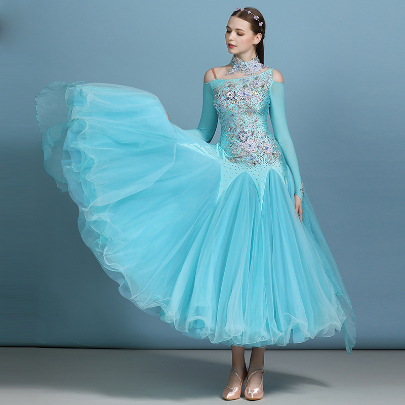 Ballroom Dance Competition Dresses For Women Rhinestone Embroidery Sexy Sling Mesh Long Sleeve Performance Dance Wear DWY2954