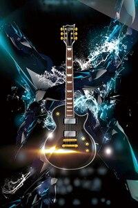 Image 2 - Laeacco תמונה רקע גיטרה מוסיקה דיסקו מסיבת חגיגת גראנג דפוס שיחת וידאו צילום רקע תמונה סטודיו