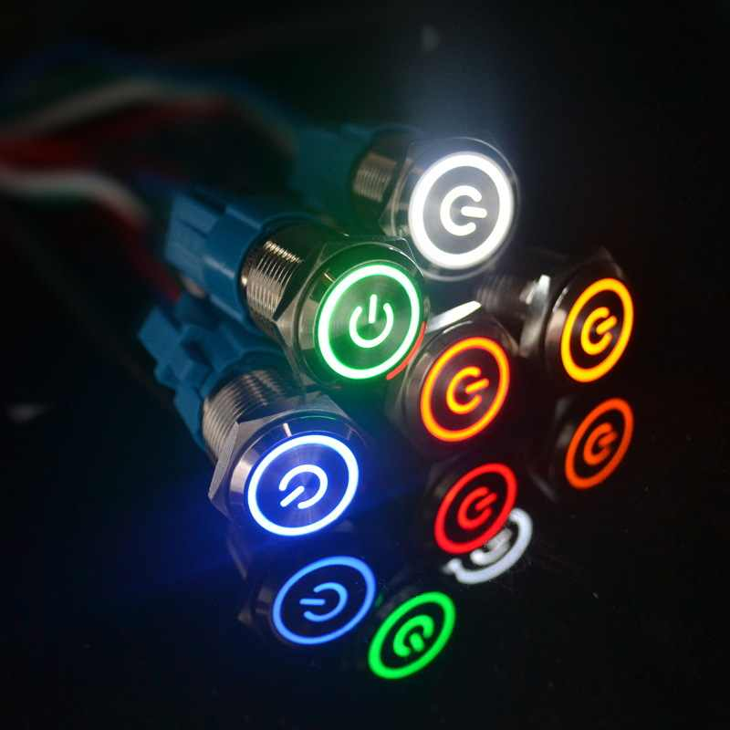 3V 5V 9V 12V 24V 220V Menempel Push Button Switch 12 Mm Kepala Datar tetap Diri Penguncian Tombol LED Tahan Air Logam Switch