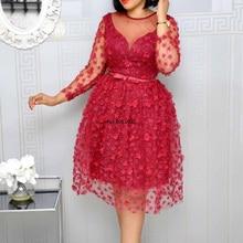 Ropa africana para mujer, rojo brillante, línea A, cintura alta, con cinturón, sexi, malla de retales, vestido Midi Vintage para fiesta de boda y Noche