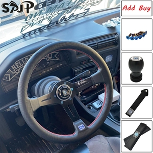 Universal 14 Inch ND PU Leather Auto Racing Steering Wheels Deep Horn Drifting Sport Steering Wheel with Logo
