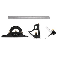 Combination Square Spirit Ruler Protractor-Level Angle-Finder Miter Stainless-Steel 3pcs/Set