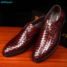 QYFCIOUFU New Genuine Leather Mens Dress Shoes Handmade Office Business Wedding Weave Luxury Lace Up Formal Oxfords