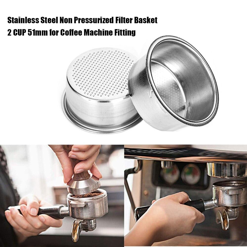 51 мм 2 чашки из нержавеющей стали замена фильтра для кофе корзина многоразовые чашки пивоварения инструмент для Delonghi Kcup Кофе Чай Аксессуары