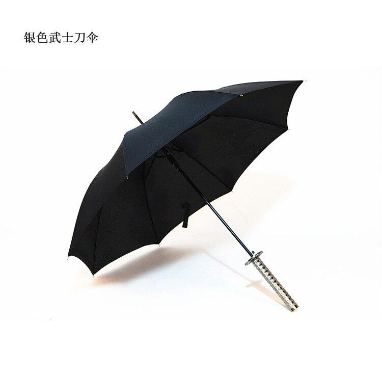 Currently Available Wholesale Creative Silver Handle Semi-Fiber Samurai Sword Umbrella All-Weather Umbrella Men Gift Umbrella A