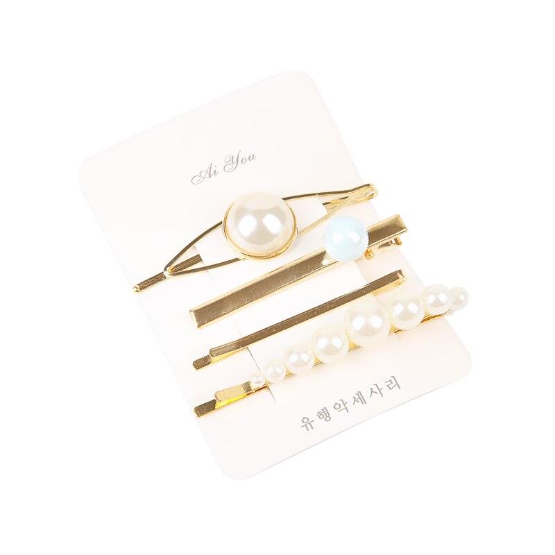 Купить с кэшбэком 4pcs/Set Pearl Hair Clip Women Hairpins Colorful Beads Hair Clips Irregular Geometric Hair Styling Accessories spinki do wlosow