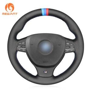 MEWANT Black Genuine Leather Steering Wheel Cover for BMW M Sport F10 F11 (Touring) F07 F12 F13 F06 F01 F02 M5 F10(China)