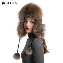 New Arrival Women's Natural Fox Fur Ushanka Hat Winter Thick Warm Trapper