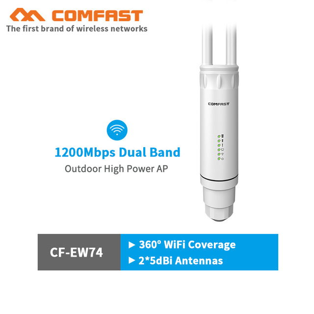 Comfast AC1200 500mW High Power Outdoor Waterproof Wi-Fi Router, Range Extender, Repeater, Access Point with CPE Dual Band 2.4Ghz/5Ghz Outdoor AP 10dBi Antenna POE AP W-fi Wide Coverage