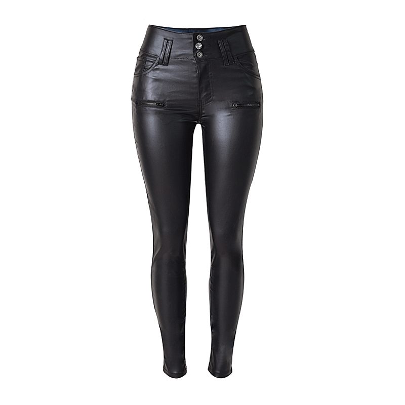 Pantalones de cintura alta para otoño e invierno, 3 hebillas, adelgazantes, imitación de cuero, PU, salvaje de gran tamaño, moda informal, K170