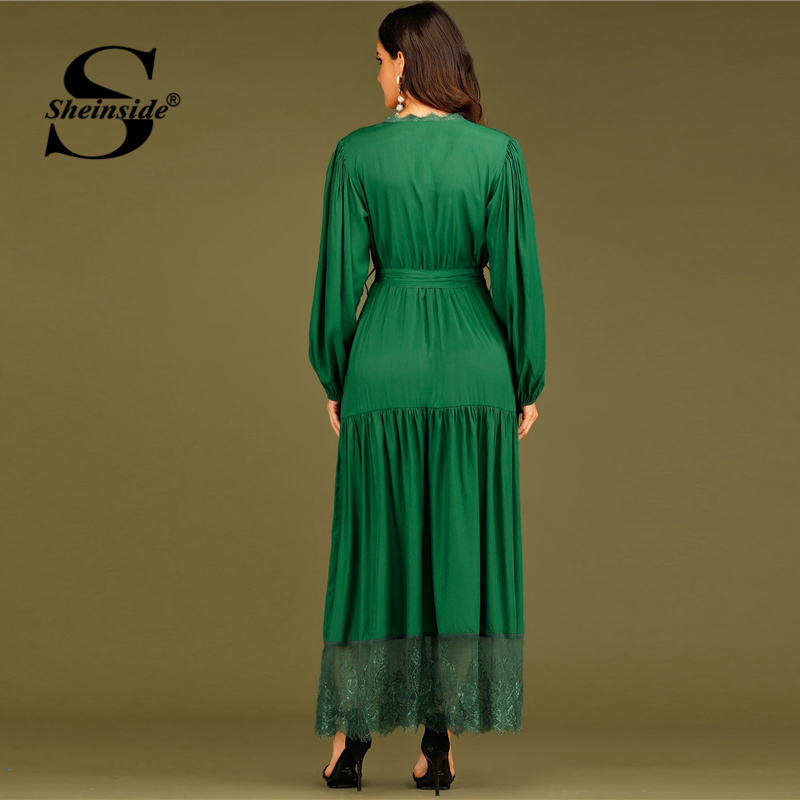 Sheinside Green Elegant Contrast Lace V Neck Wrap Party Dress Women 2019 Autumn Lace Hem A Line Dresses Ladies Belted Maxi Dress SHEINSIDE Women Women's Sheinside Collection