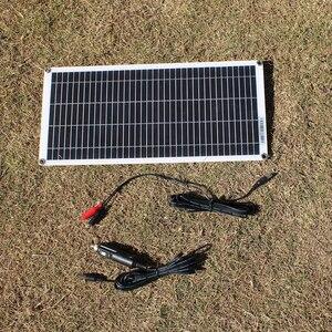 Image 3 - ألواح الطاقة الشمسية المحمولة شبه مرنة 10 واط 18 فولت مع كابل تيار مستمر 5521 لسيارة 12 فولت
