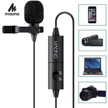 MAONO Lapel Microphone Clip on Lavalier Microphone 6M Handsfree Condenser Microphone Collar Mic for DSLR Camera PC Smartphone