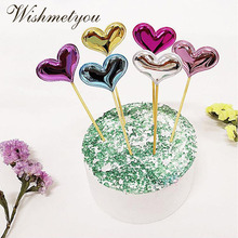 WISHMETYOU DIY Happy Birthday Cake Topper Love Heart Pentagram Star Crown Shape Dessert Wedding Decoration Baby Shower