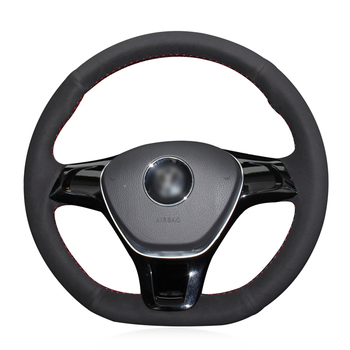 Hand-stitched Black Suede Car Steering Wheel Cover for Volkswagen VW Golf 7 Mk7 New Polo Jetta Passat B8 Tiguan