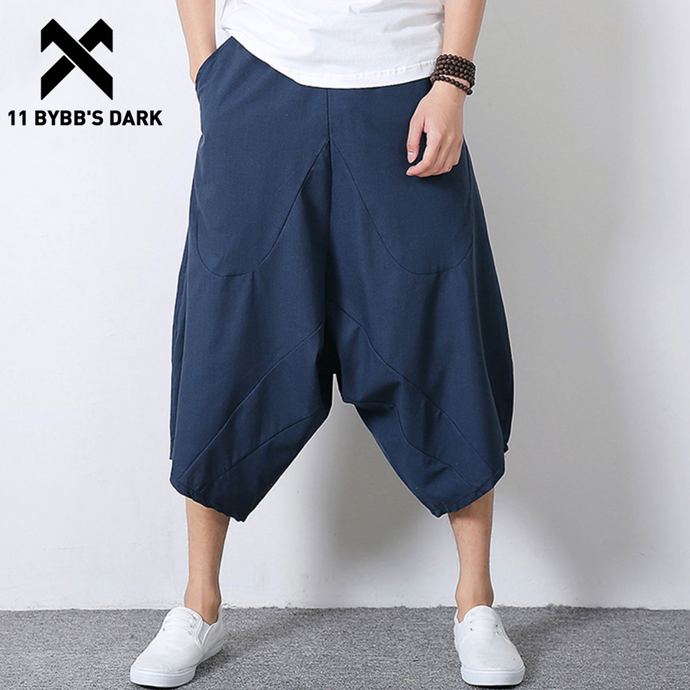 11 BYBB'S DARK Plus Size Linen Chinese Style Tai Chi Kendo Aikido Kungfu Sportswear Men Casual Pants Streetwear Man Joggers