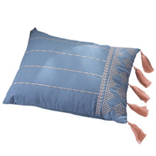 Botique-Spring Cushion Cover Home Decoration Embroidery Tassel Pillowcase Home Sofa Seat Pillowcase 38x48Cm Blue(China)
