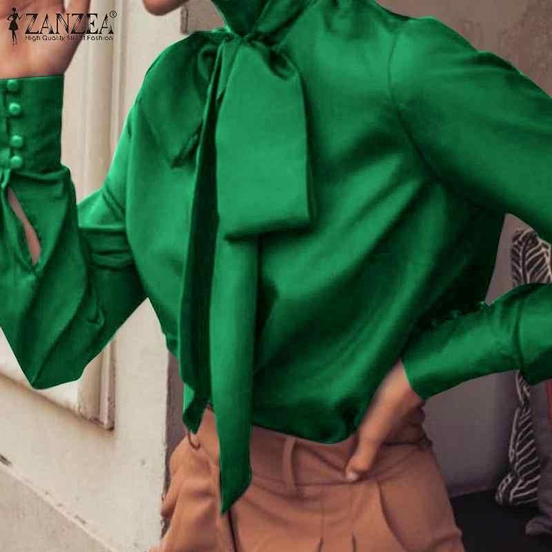 2020 ZANZEA Donne Eleganti Camicetta di Nuovo Modo Magliette e camicette di Alta Collare OL Ufficio Signora Tie Tunica Camicia casual Blusas Manica Lunga più il Formato