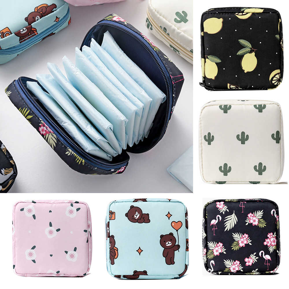 Portable Fabric Large Capacity Sanitary Towel Napkin Pad Tampon Purse Bag Organizer Pouch Girls Feminine Hygiene Pad Storage