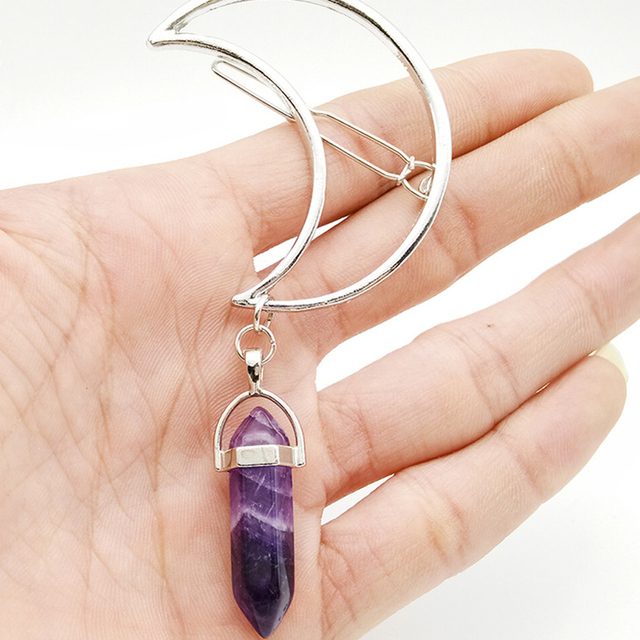 8 couleurs Boho lune pinces à cheveux accessoires guérison cristal Barrette épingles à cheveux Hippie mignon mode bijoux uniques cadeaux de noël