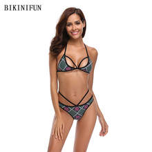 New Women Checkered Print Bikini Women Swimsuit Backless Bathing Suit S-XL Strappy Bandage Halter Two Piece Swimwear Bikini Set