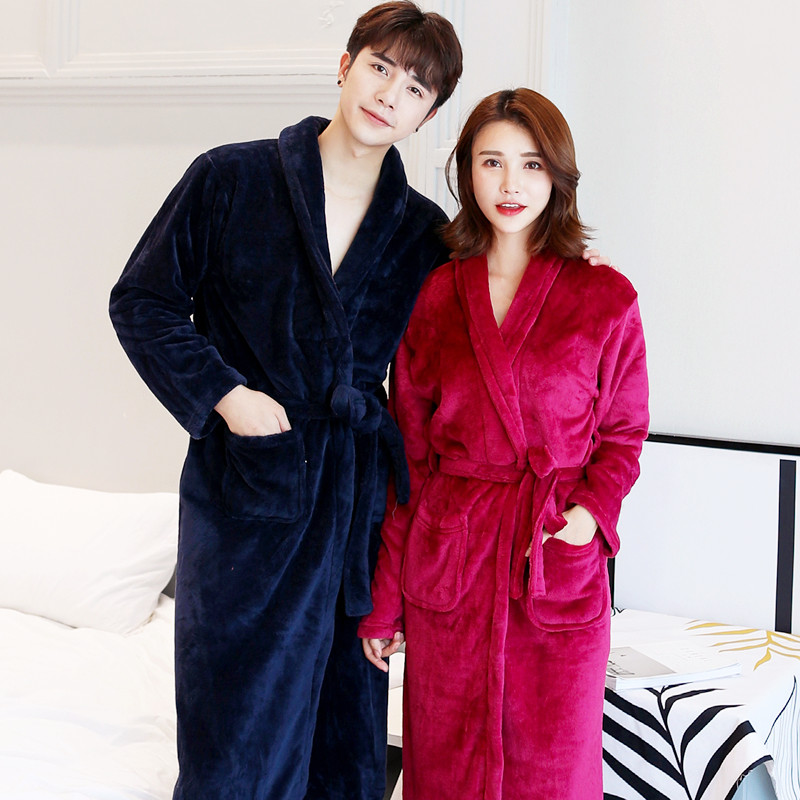 Winter New Coral Fleece Lady Robe Kimono Bathrobe Nightgown Thick Warm Long Sleeve Sleepwear Bath Night Dress Gown Size L XL