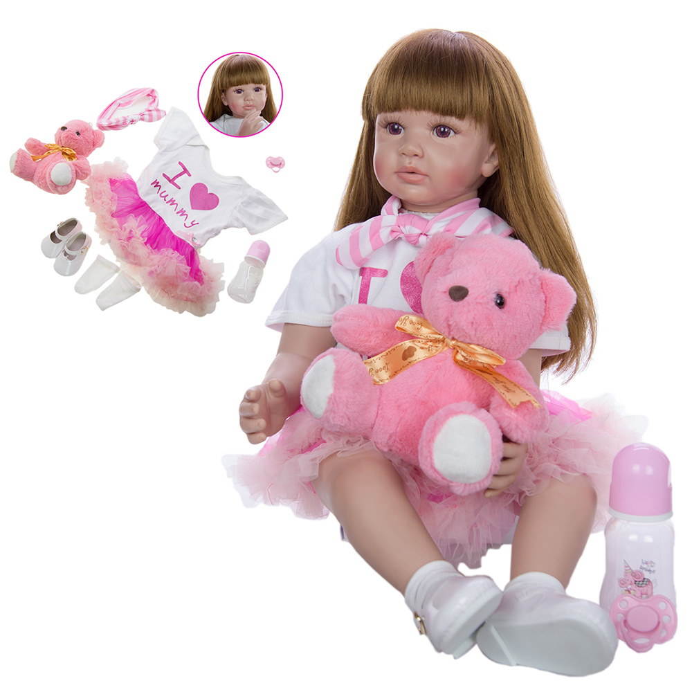 <font><b>60</b></font> <font><b>cm</b></font> <font><b>Reborn</b></font> Baby Girl <font><b>Doll</b></font> 24 Inch Soft Vinyl silicone bebe <font><b>reborn</b></font> Princess <font><b>Doll</b></font> wear Cloak <font><b>Doll</b></font> With Long hair Realistic Toys image