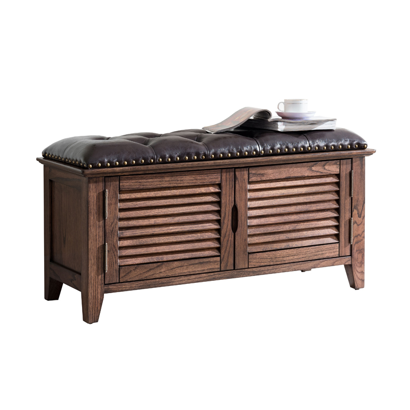 Pure Solid Wood American Louver Door Shoe Stool Shoe Cabinet Can Sit In The Door Storage Storage European Leather Shoes Bench