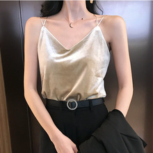 Tank Top Women Stain Crop Top Woman Summer Gold Velvet Tees Vest for Woman Sexy V-neck Spaghetti Strap Tops Womens Plus Size 2XL brief embroidered spaghetti strap tank top for women