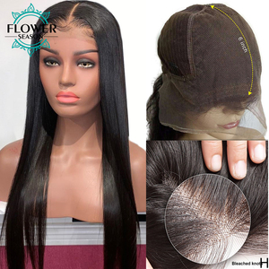 Image 4 - Preplucked 13x4 Silky Straight Lace Front Human Hair Wigs With Baby Hair Remy Peruvian Human Hair wig for women 130 FlowerSeason