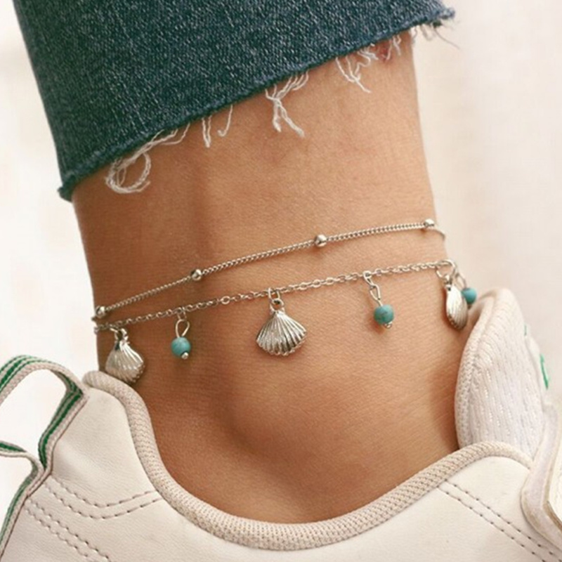 Shell Beads Anklets Bohemian Beach Ankle Chain For Women Vintage Double Layer Anklet Leg Bracelet Summer Foot Jewelry 2Pcs/Set