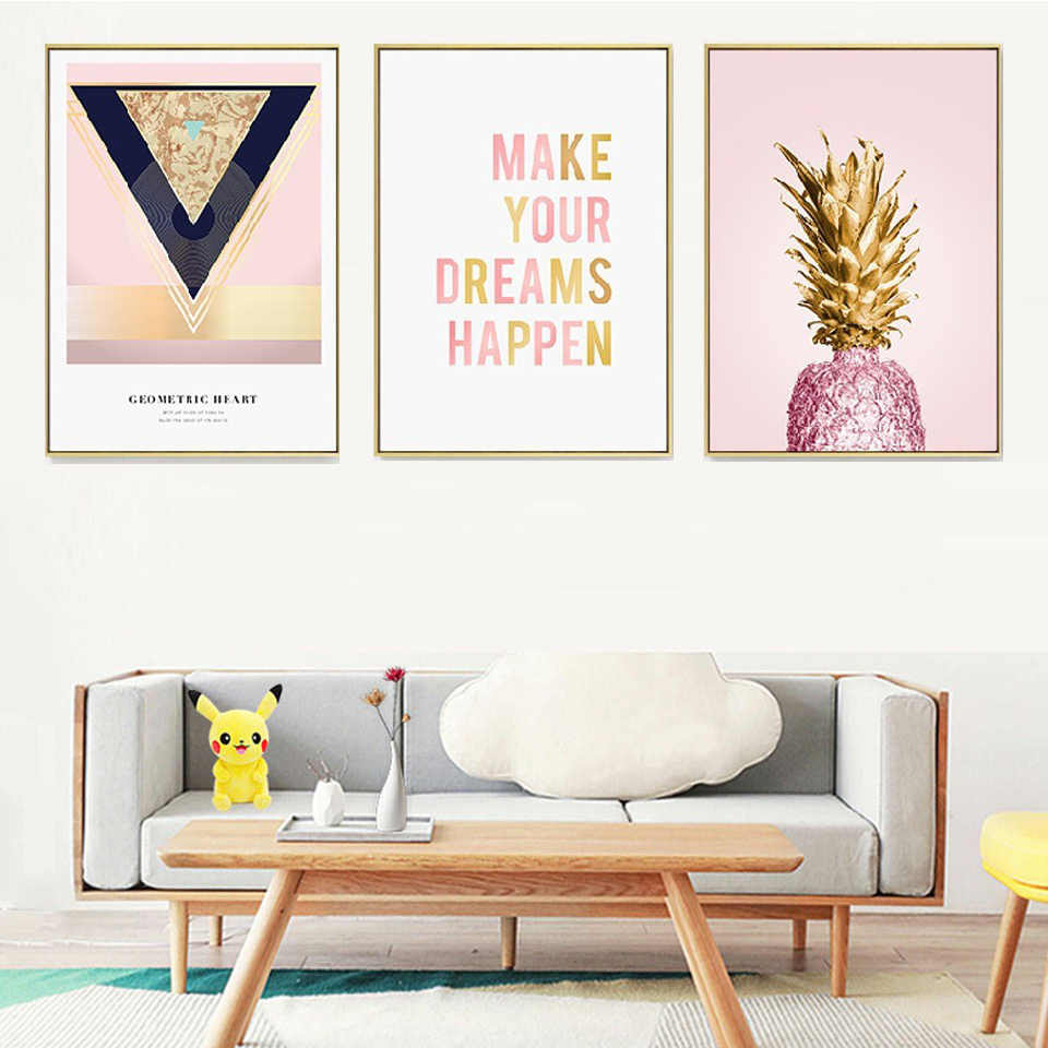 Gold Plated Fruit Banana Pink Pineapple Nordic Canvas Painting Poster Print Wall Art Picture Living Room Bedroom Home Decor