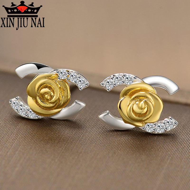 S925 Silver Earrings, Geometric Zircon Earrings, Jewelry & Accessories Fashion Jewelry,Letters  Stud Earrings.C Earrings