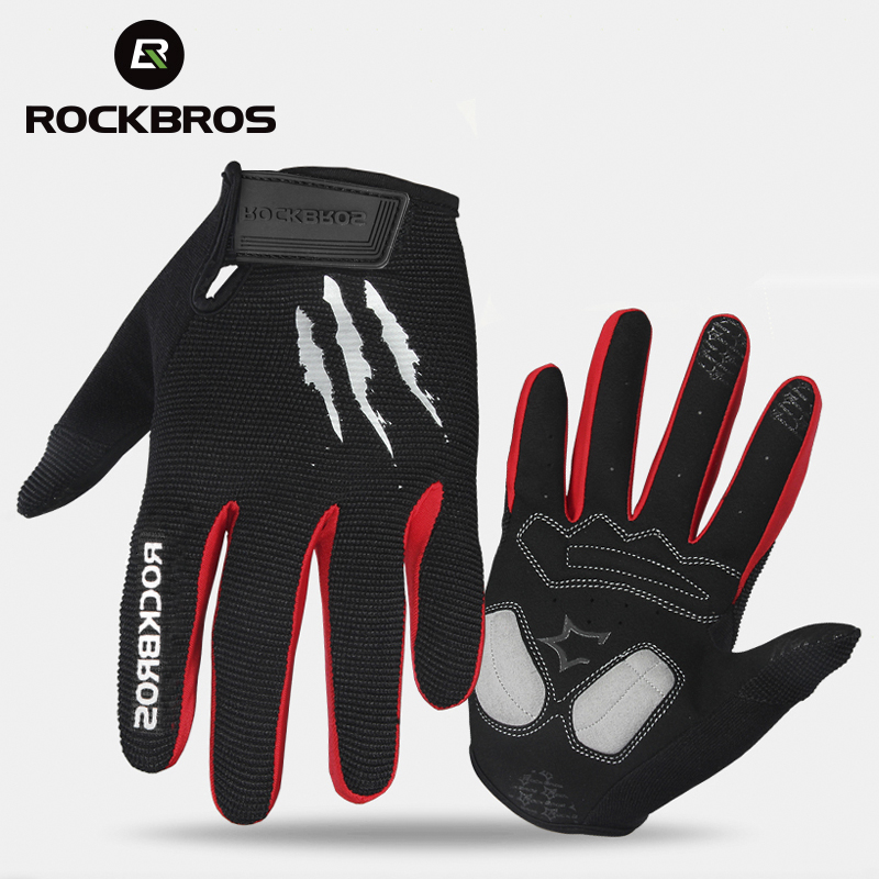ROCKBROS Cycling Gloves Sponge Pad Long Finger Motorcycle Gloves For Bicycle Mountain Bike Glove Touch Screen MTB Gloves