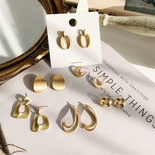 MENGJIQIAO New Vintage Irregular Circle Matte Metal Gold Color Stud Earrings For Women Fashion Geometric Holiday Jewelry Gifts