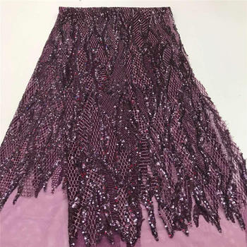 High Quality Purple African Gold Sequin Lace French Lace Fabric For Wedding Party Embroidery African Lace Fabric