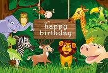 Photography Backdrop Jungle Safari theme Party Decorations Photo Background Baby Shower Birthday Party Backdrop Photo Studio