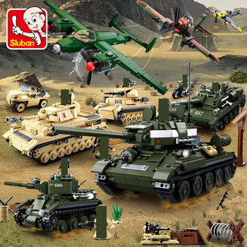 Military Tank WW2 Army Figures Troops Armored Car Building Blocks Sets DIY Bricks Helicopter Model Playmobil Education Kids Toys 1061pcs military technic iron empire tank building blocks sets weapon model army ww2 diy bricks playmobil educational kids toys