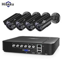 Hiseeu System kamer CCTV 4CH 720P/1080P AHD kamera bezpieczeństwa zestaw DVR CCTV wodoodporna odkryty wideo z domu System nadzoru dysku twardego