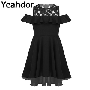 Image 1 - 膝丈レーススプライス高値安値裾フラワーガールのドレス子供フリルトリミングコールド肩ハイウエストの誕生日のドレス